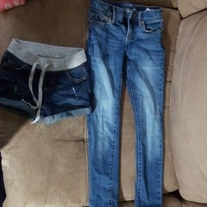 Girls skinny jeans and shorts size 7 slim